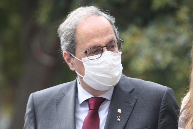 El presidente de la Generalitat, Quim Torra, entrando este jueves al Tribunal Supremo, en Madrid, donde tuvo lugar la vista pública para revisar su condena por un delito de desobediencia.