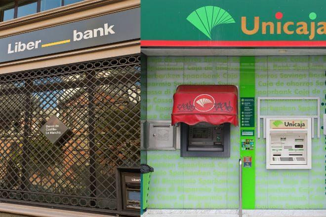 Fotomontaje con sucursales de Unicaja y Liberbank