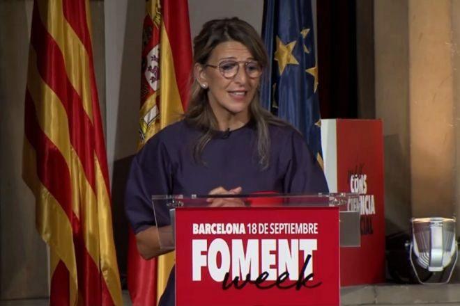 La ministra de Trabajo, Yolanda Díaz, en Fomento del Trabajo, en Barcelona.