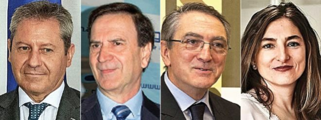 De izquierda a derecha: Alberto Gutiérrez, presidente de Airbus España; Iñaki López Gandásegui, presidente de Aernova; Ginés Clemente, presidente de Aciturri; Maria Eugenia Clemente, directora general de Alestis