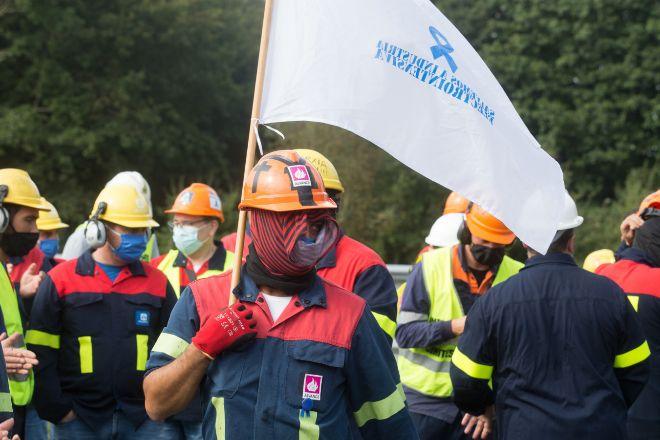 Imagen de archivo de los trabajadores de Alcoa San Cibrao manifestándose.