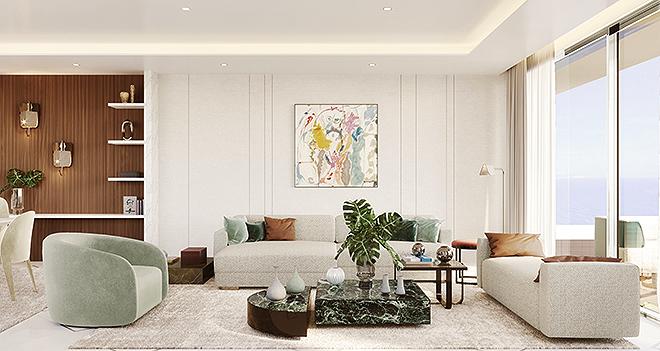 Los apartamentos miden desde 380 hasta 1.000 m2, y todos tienen amplias zonas reservadas a sala de estar.