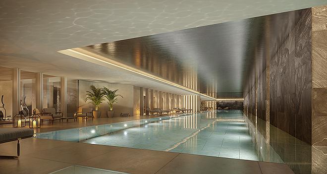 Esta piscina infinita cubierta es también de uso común.
