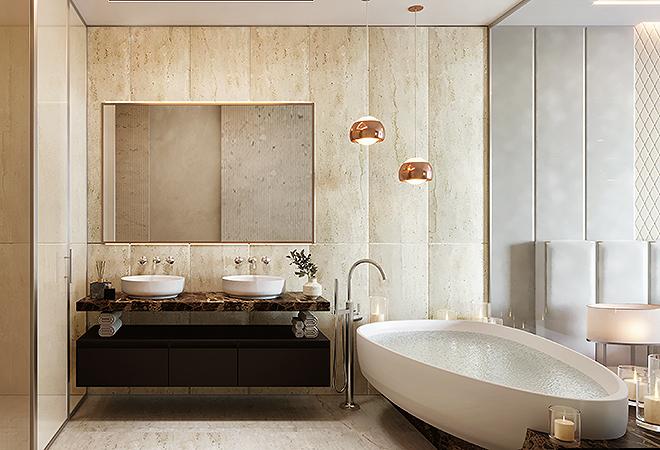 Los baños son de mármol italiano y los dormitorios cuentan con suelos de roble.