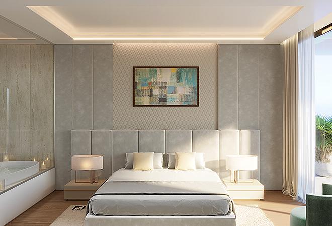 Dormitorio con ventanal de techo a suelo.