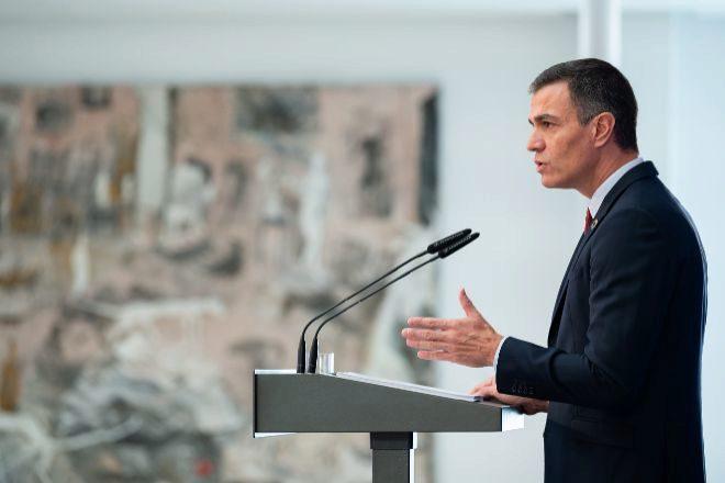 El presidente del Gobierno, Pedro Sánchez, durante la presentación ayer del Plan de Recuperación, Transformación y Resiliencia de la Economía Española, en el Palacio de la Moncloa.