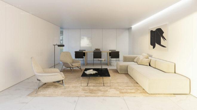 Salón diseñado por el minimalista Silvestre.