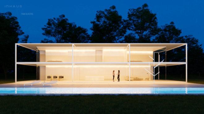 Opción de casa con estructura porticada en dos alturas.