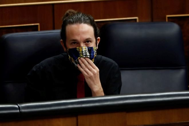 El vicepresidente segundo del Gobierno, Pablo Iglesias hoy durante la sesión de control al Ejecutivo en el Congreso.
