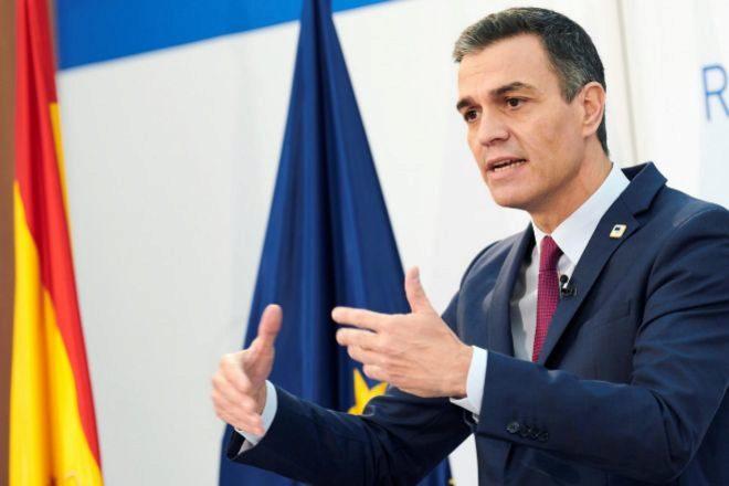 El presidente del Gobierno, Pedro Sánchez, durante su rueda de prensa posterior a la la cumbre de los jefes de Estado y Gobierno de la Unión Europea del pasado viernes en Bruselas (Bélgica).