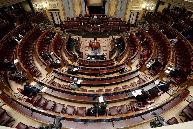 Imagen del Hemiciclo semivacío del Congreso de los Diputados la semana pasada durante la intervención del  presidente del Gobierno, Pedro Sánchez, en la sesión de control al Ejecutivo.