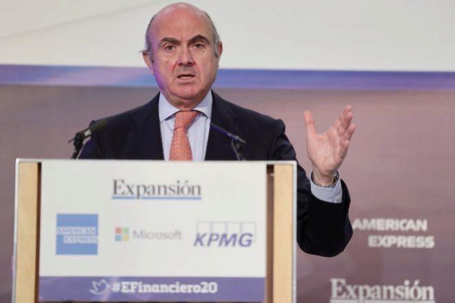 El vicepresidente del Banco Central Europeo (BCE), Luis de Guindos, ayer durante la apertura de honor del XI Encuentro del Sector Financiero de Expansión y KPMG.
