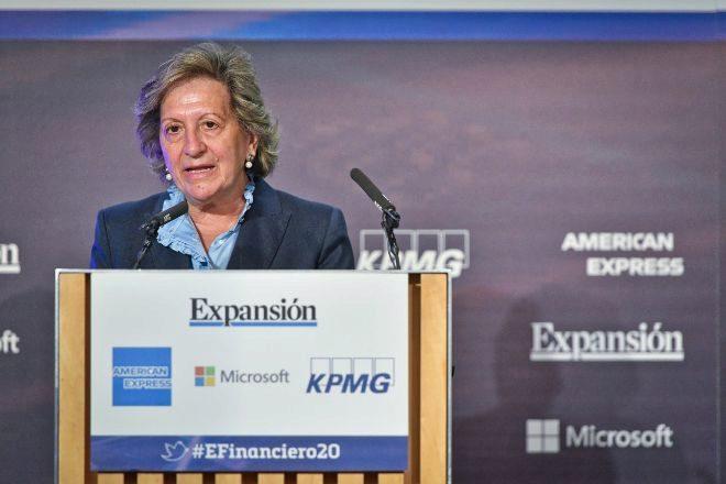 La presidenta de Unespa, Pilar González de Frutos, durante su intervención en el XI Encuentro Financiero organizado por EXPANSIÓN y KPMG.