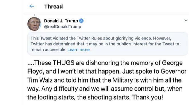 """Twitter denunció en mayo por primera vez un mensaje de Trump sobre Minneapolis que """"ensalza la violencia""""."""