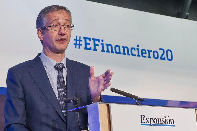 El gobernador del Banco de España, Pablo Hernández de Cos, durante la clausura del XI Encuentro del sector financiero organizado por EXPANSIÓN y KPMG.