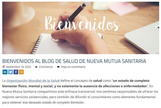 Nueva Mutua Sanitaria refuerza sus servicios digitales con un blog de salud