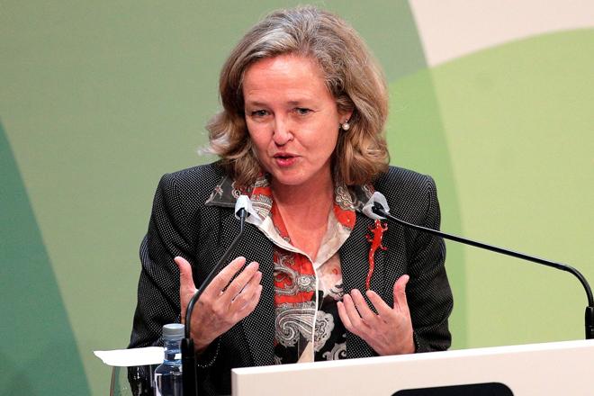 Nadia Calviño, ayer en el  Congreso de CEDE.