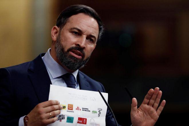 El líder de Vox, Santiago Abascal durante su intervención en la segunda sesión del debate de moción de censura presentada por su partido.