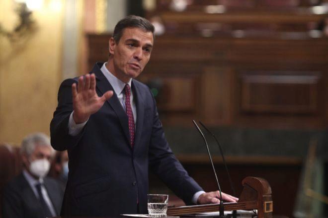 El presidente del Gobierno, Pedro Sánchez, ayer durante la segunda sesión del pleno del Congreso de los Diputados en el que se debatía la moción de censura presentada por Vox.