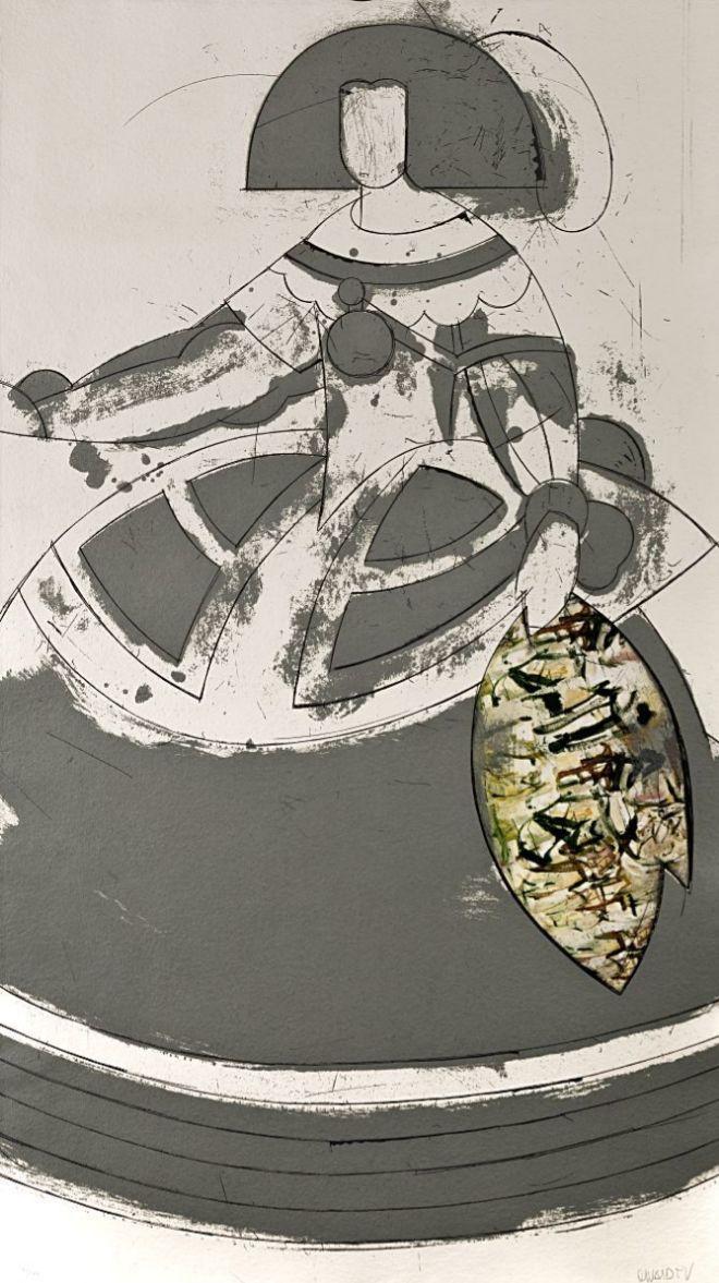 """""""Reina Mariana II"""", de Manolo Valdés 2000. Grabado y collage copia 9/100. 170 x 130 cm. Precio de salida: 9.000 euros."""