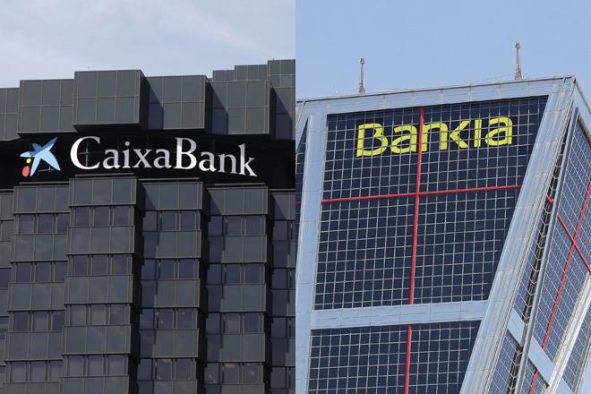 Edificios de CaixaBank y Bankia.