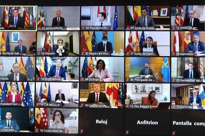 Imagen de la reunión telemática de presidentes.