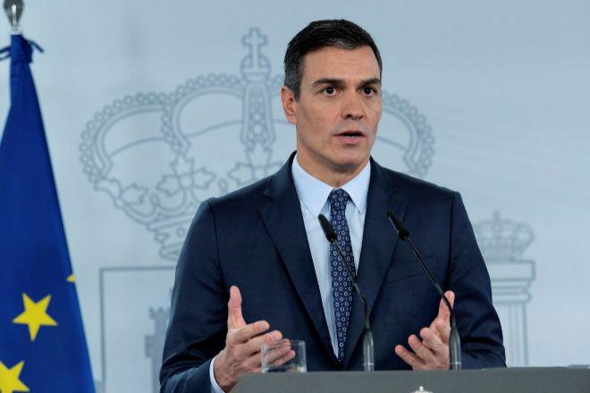El presidente del Gobierno, Pedro Sánchez, durante la rueda de prensa sobre la declaración del nuevo estado de alarma.