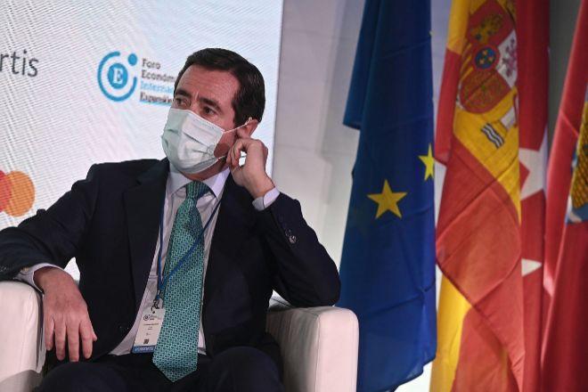 El presidente de la CEOE, Antonio Garamendi, durante el I Foro Económico Internacional Expansión, convocado para analizar los desafíos económicos, políticos y sociales generados por la pandemia de la covid-19, este martes en Alcalá de Henares (Madrid).