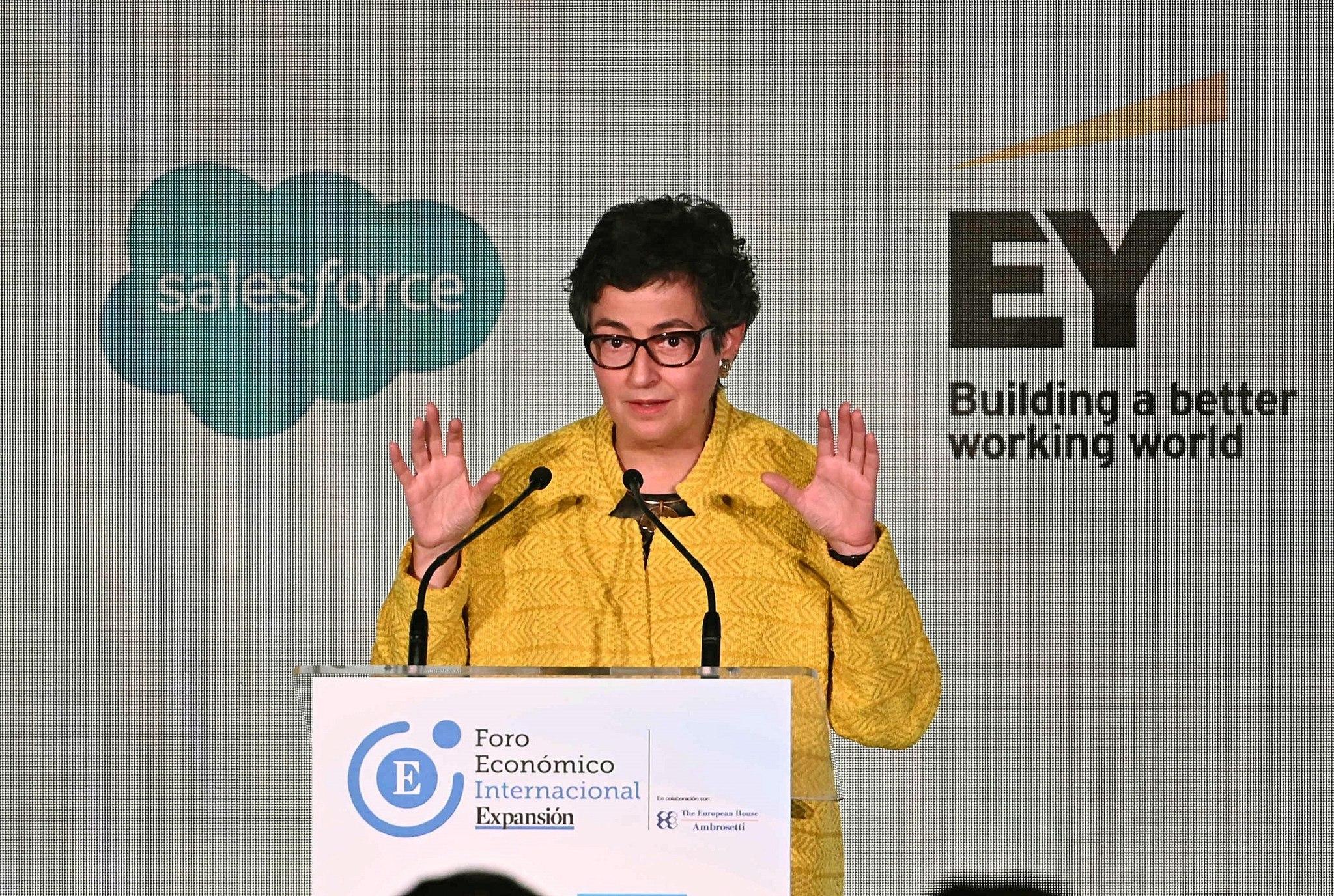 La ministra de Asuntos Exteriores, Unión Europea y Cooperación, Arancha González Laya, durante su intervención en el Foro Económico Internacional EXPANSIÓN.