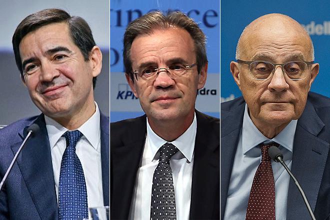 De izq. a dcha., Carlos Torres, presidente de BBVA; Jordi Gual, presidente de CaixaBank; y José Oliu, presidente de Sabadell.