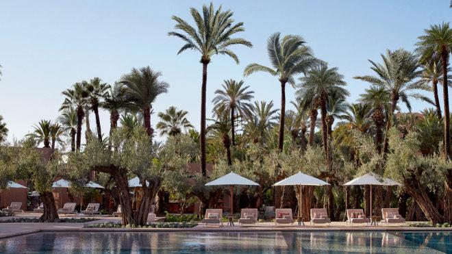 Con diseño de Vallejo, la piscina está rodeada por palmeras de varias alturas.