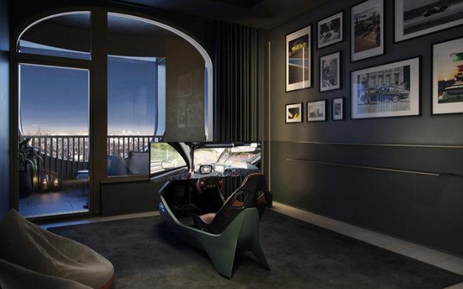Habitación con un simulador de conducción creado especialmente para el proyecto.