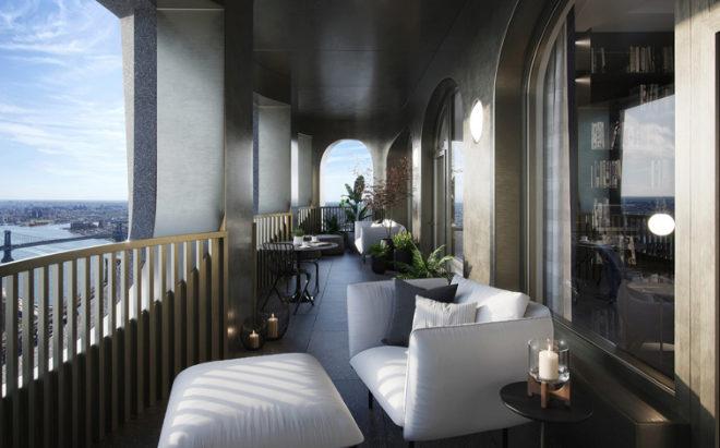 Imagen de la terraza que rodea cada piso proyectado por David Adjaye para Aston Martin.