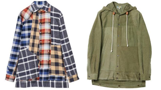 Pareja de camisas: a la izq, a partir de otras de franela vintage, 650 euros, y a la dcha, confeccionada con tiendas de campaña con capucha y cordón, 790 euros.