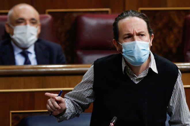 El vicepresidente segundo del Gobierno, Pablo Iglesias, durante la sesión de control al Ejecutivo, este miércoles en el Congreso.