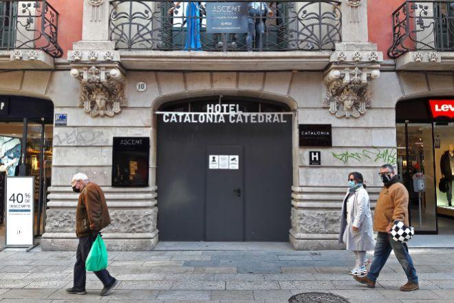 Hotel cerrado en Portal del Ángel en Barcelona.