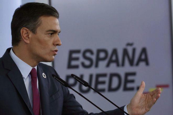 El presidente del Gobierno, Pedro Sánchez, el pasado domingo en rueda de prensa ofrecida en el Palacio de La Moncloa.