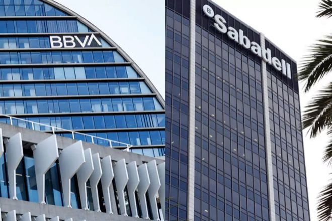 Edificios de BBVA y Banco Sabadell.
