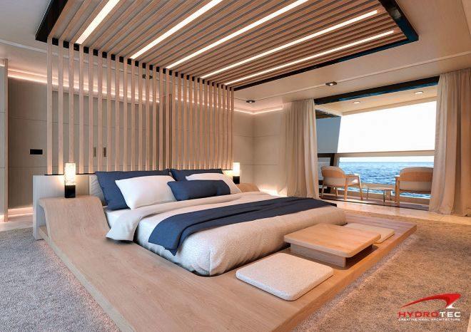 Suite del yate, que cuenta con una terraza.
