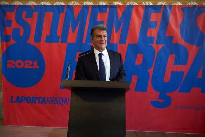 El expresidente del FC Barcelona Joan Laporta durante la presentación este lunes de su candidatura a la presidencia del club catalán