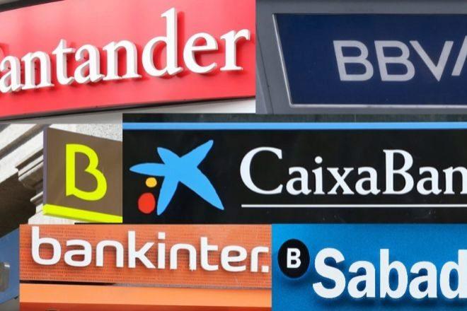 Montaje con los logos de los bancos del Ibex
