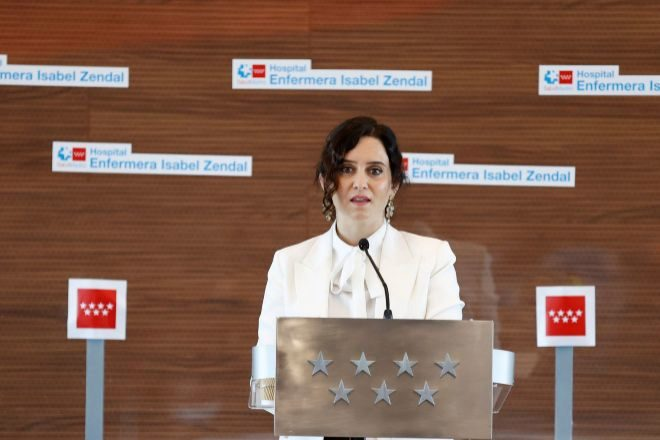 La presidenta de la Comunidad de Madrid, Isabel Díaz Ayuso, durante la inauguración del hospital de Emergencias Enfermera Isabel Zendal, este martes.