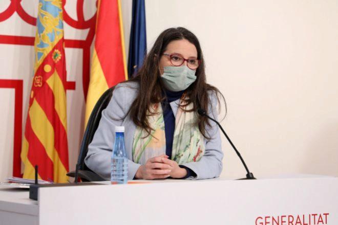 La vicepresidenta de la Generalitat, Mónica Oltra, durante la rueda de prensa posterior a la reunión del Consell.