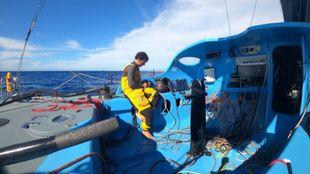 Foto enviada desde el barco One Planet One Ocean durante la Vendée...