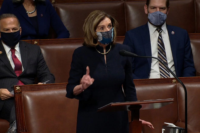 La presidenta de la Cámara de Representantes, Nancy Pelosi, ayer.