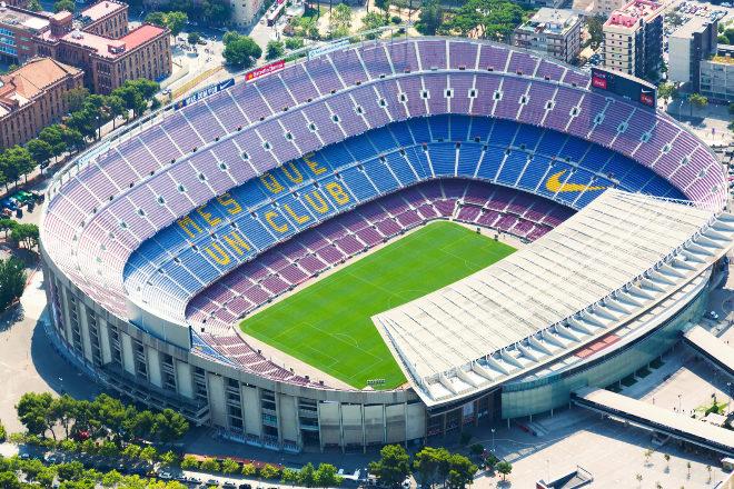 Vista aérea del Camp Nou.