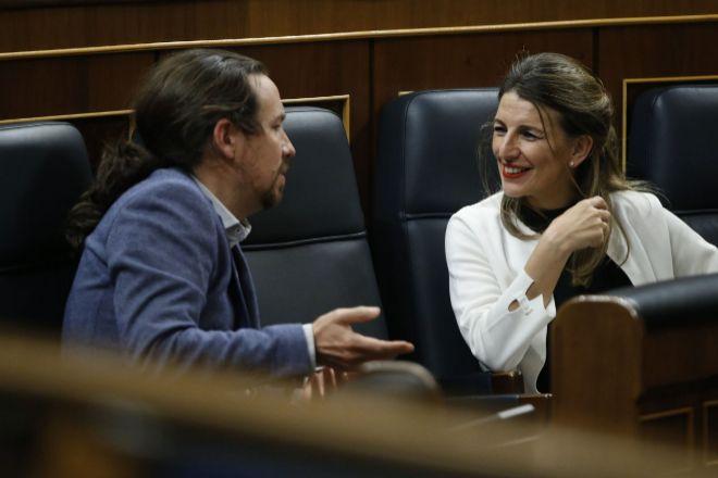 La ministra de Trabajo, Yolanda Díaz, y el vicepresidente de Derechos Sociales y para la Agenda 2030, Pablo Iglesias.