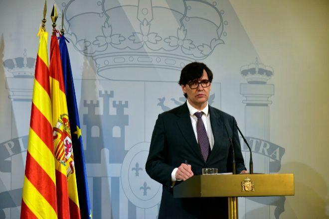 Salvador Illa, ministro de Sanidad, en la rueda de prensa de esta tarde en Sevilla.