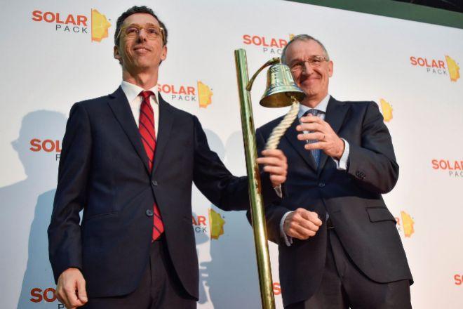 Pablo Burgos y José Galíndez, el día de la salida a bolsa de Solarpack.