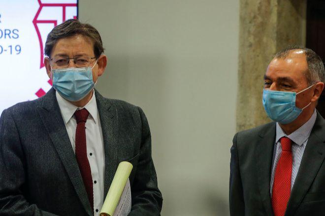 El presidente de la Generalitat, Ximo Puig, con el presidente de CEV, Salvador Navarro, durante la última reunión de los agentes sociales valencianos.